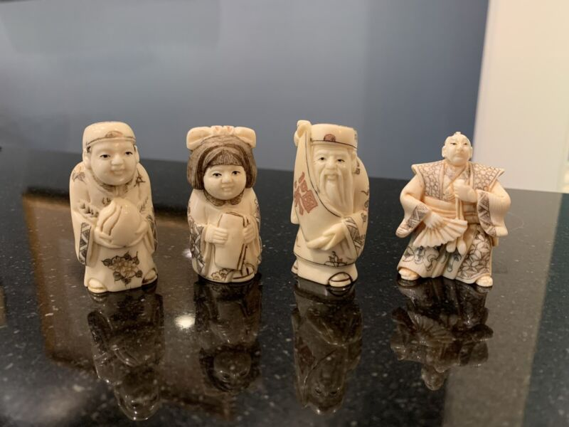 4 Japanese Highly Detailed Hand Carved Netsuke Signed