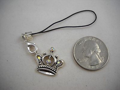 Crystal Crown Cell Phone Charm (RARE Premier Designs Silver Crown Cell Phone Charm NWT Sweet! )