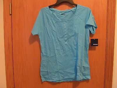 Blue Islet Apron Scoop neck SS top~Women's Size SMALL~NEW -