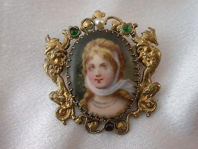 Antike Brosche vergoldet mit Miniaturmalerei um 1890