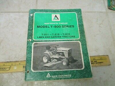 Vtg Allis Chalmers Garden Tractor Operators Manual Guide T-800 811 818 816