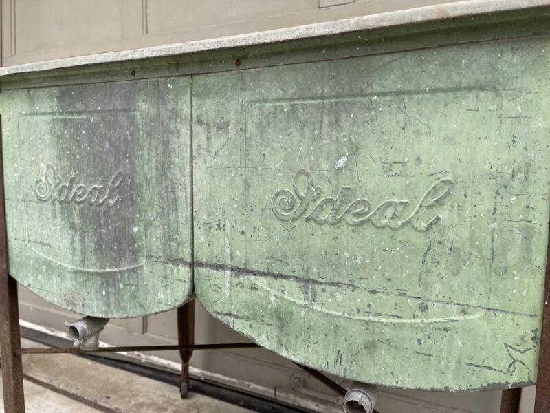 Vtg Antique IDEAL Galvanized Double Wash Tub Sink w/ Lid Rustic Primitive Shabby