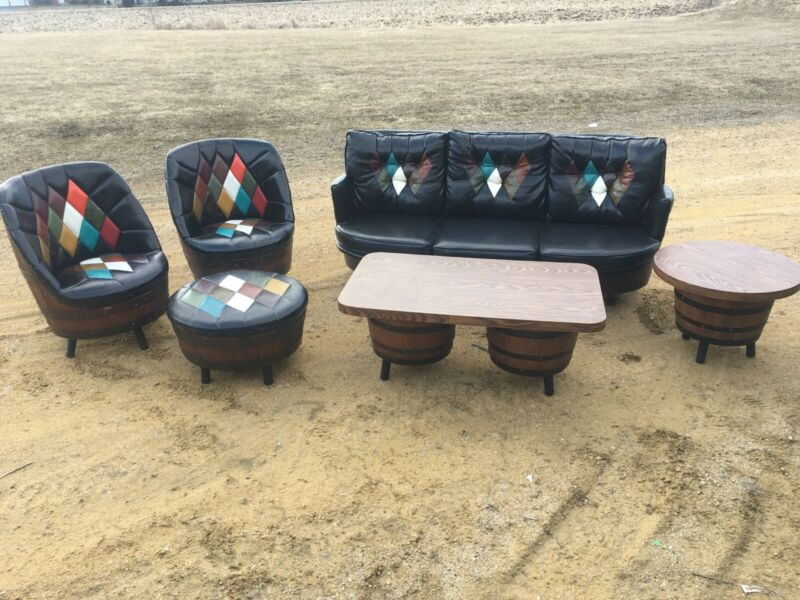 MIDCENTURY WHISKEY BARREL 6 LIVING ROOM PIECES BY BROTHERS OF KENTUCKY