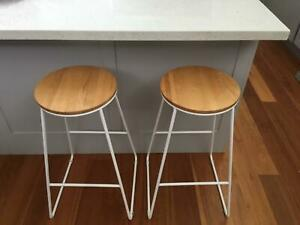 2 x Kmart white industrial bar stools