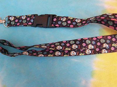 Day of The Dead Repeating Sugar Skulls on a Detachable Lanyard