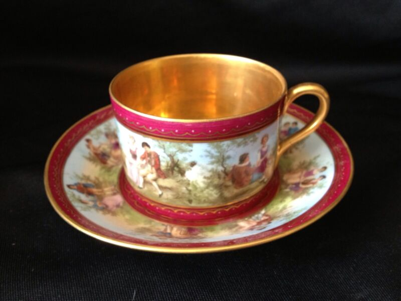 Spectacular Royal Vienna Style Cup & Saucer Burgundy Courting Couple Scenes