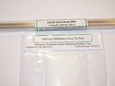 SILVER BRAZING SOLDER & FLUX KIT 30% Silver  Ag130 x5 rods &  Easy-flo flux