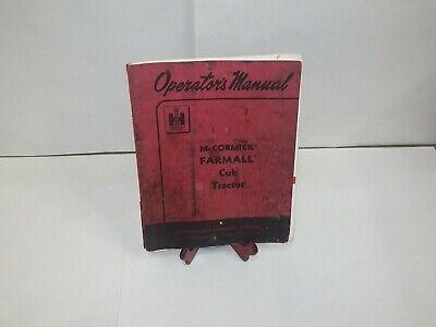 Ih Farmall Mccormick International Farmall Cub Operators Manual