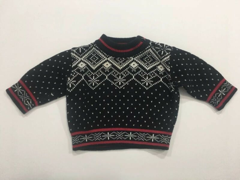 Baby Infant Hanna Andersson Size 60 Holiday Winter Sweater Black Red