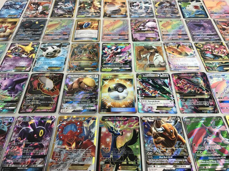 Pokemon Card Lot 100 Official Tcg Cards With Rare Com Unc + Gx Ex Hyper Mega V