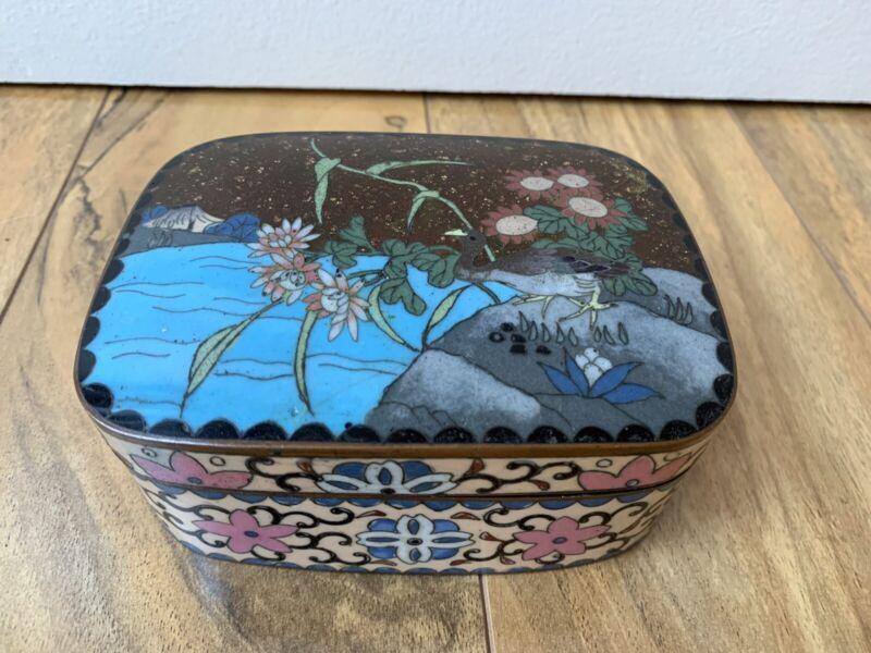 19th Antique Chinese Bronze Cloisonne Enamel Trinket Box Meiji Period Goldstone