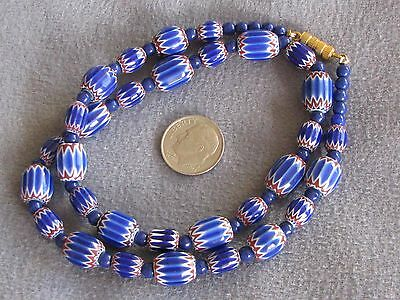 Necklace of Vintage Venetian 6 Layer Chevron Glass Trade Beads