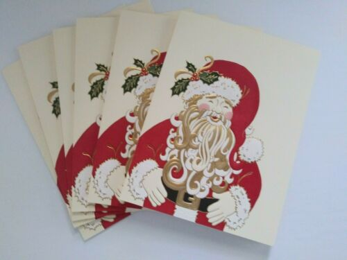 Lot 6 Crane Hand Engraved Christmas Cards Embossed Santa Claus