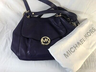 Michael Kors Purple Leather Satchel Shoulder Bag Handbag Crossbody Tote