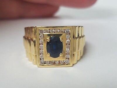 Mens Sapphire And Diamond Rolex Design 18k Yellow Gold Ring