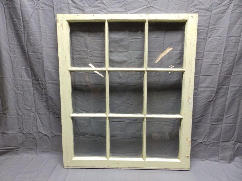 Antique 9 Lite Window Sash 34x29 Shabby Old Cottage Chic Vtg 434-18P