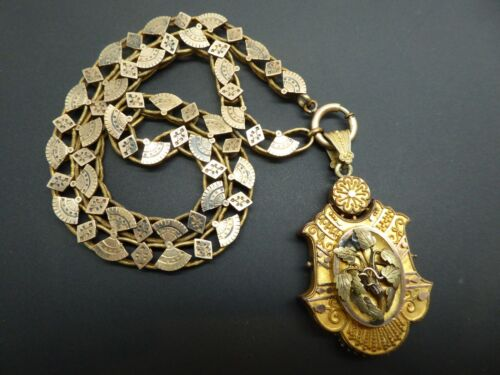 Victorian Edwardian Gold Plated Granulated Mourning Locket Ornate Necklace 18""