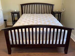 Queen bed frame, headboard, side tables, box spring & mattress