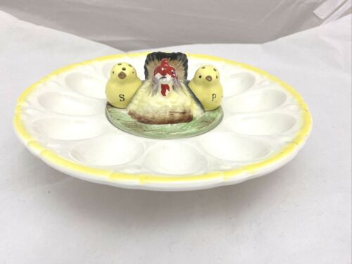 Vintage Egg Plate with Chicks Hen Salt and Pepper Shakers Japan Relish Dish