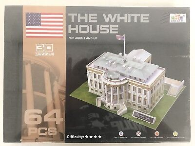 The White House 3D Puzzle , 64 PIECES , NO TOOLS OR GLUE REQUIRED BRAND NEW 2018