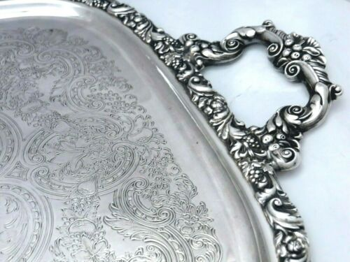 """WILCOX SP CO  BEVERLY MANOR AESTHETIC CHASED ORNATE SERVING BUFFET TRAY  27"""""""