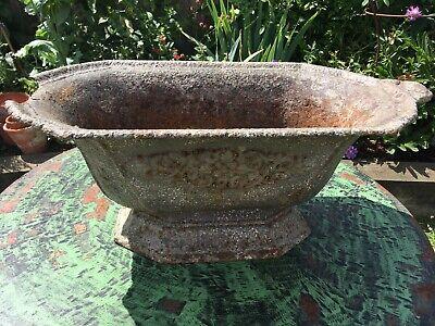 Antique/Vintage Cast Iron Planter - garden pot plants display metal