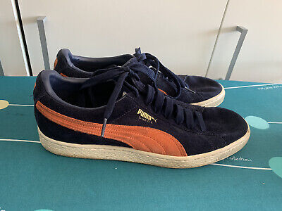 Puma Navy And Orange Suede  Trainers Size Uk 9 Eur 43
