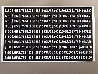 Vending Machine Price Label Sheet 130 Stickers Variety Per Sheet