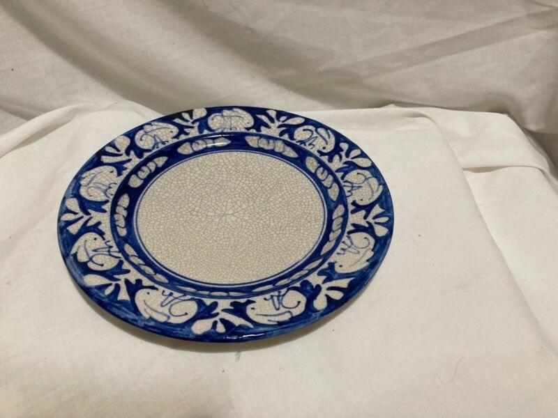 "Antique Dedham rabbit blue crackleware salad plate 7.5"" 1929-1934"