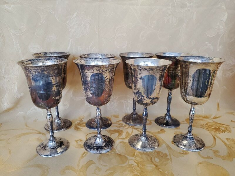 Vintage EPNS Silver Plated Goblets (8 cups) hand made in India 7 1/2 tall