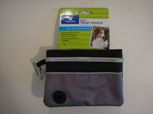 Top Paw® Small Treat Pouch with Waste Bag Dispenser for Dogs - Black/Gray - NEW