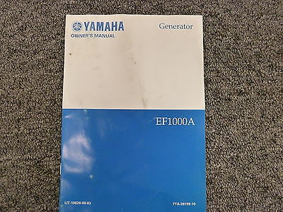 Yamaha Ef1000a Portable Generator Owner Operator Maintenance Instruction Manual