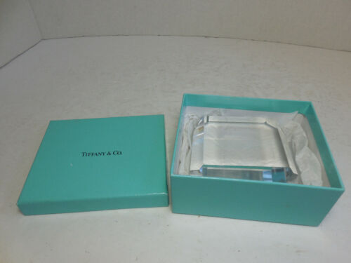 Signed Tiffany & Co Crystal Square Beveled Paperweight in Box