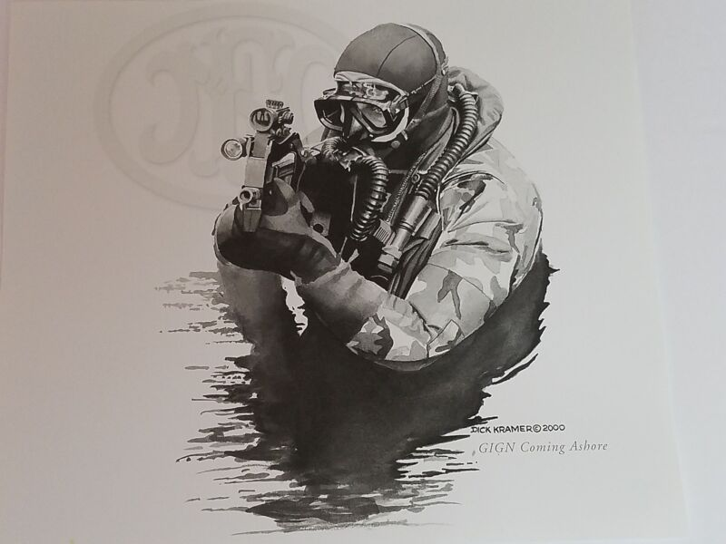 Dick Kramer Print Law Enforcement Military GIGN COMING ASHORE FN Herstal 2000