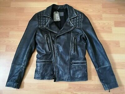 All Saints Cargo Leather Jacket Mens XS fits S Small