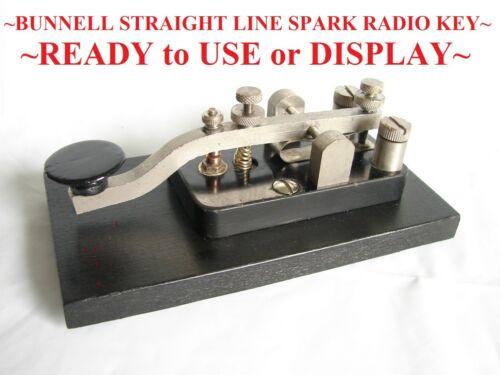 ~1920s BUNNELL STRAIGHT LINE SPARK RADIO TELEGRAPH KEY~CUSTOM WOOD BASE~~