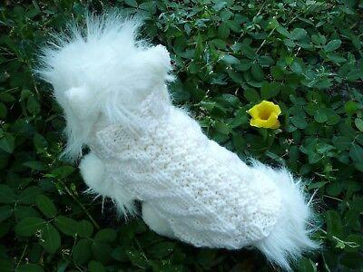 XS handmade knit Natural dog sweater