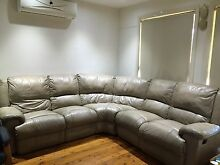 Leather couches nude colour Birrong Bankstown Area Preview
