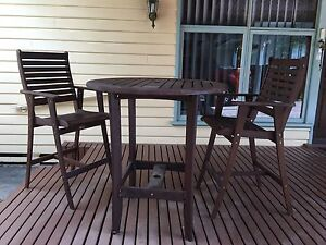 Timber Outdoor Bar Table and Chairs Moama Murray Area Preview