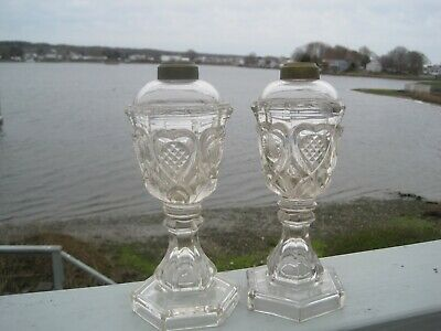 Antique Matching Pair of Sandwich Glass, Heart Pattern Oil Lamps
