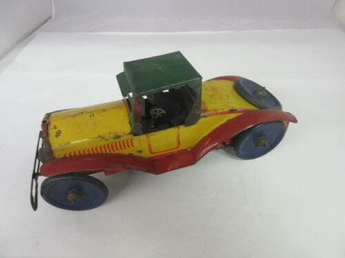 VINTAGE WIND UP TIN MARX CAR WITH DRIVER WORKS  198-F
