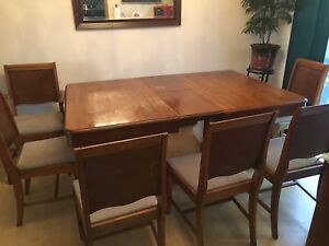 dining table with leaf 6 chairs and matching cabinet