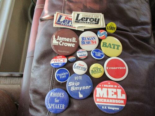 Lot of 16 Political Buttons - Most Idaho Related + Leroy Governor Vandals Etc