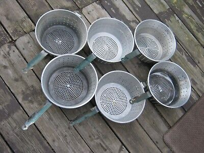 "6 pcs Used Aluminum Deep Fryer Pot Basket 10"" diameter Stainless Handle"