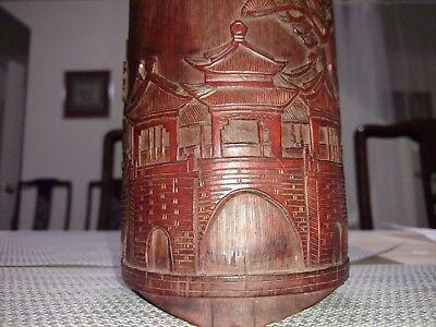 竹雕笔筒京城景色antique bamboo brushe pot hand carved city view artwork culture Chinese