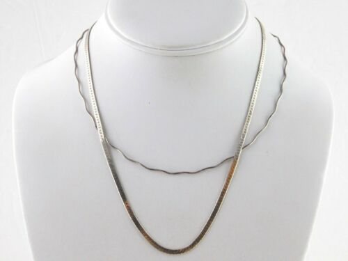 Lot of 2 Italian Sterling Silver Necklaces Wavy Omega and Herringbone Chain 925