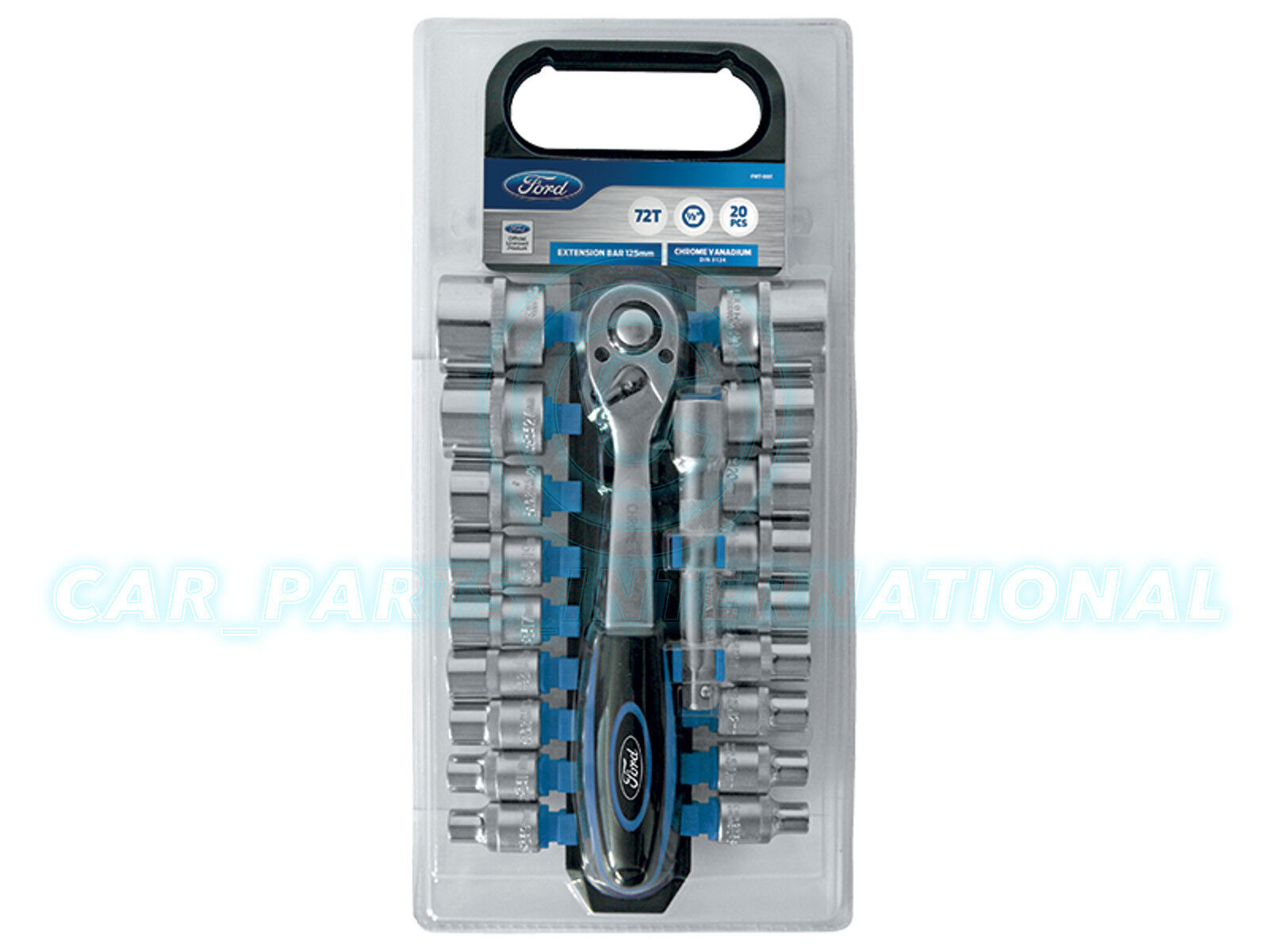 FORD TOOLS 20pc 1//2 Drive Socket Ratchet /& Rail Set Pro 72 tooth 20 Piece