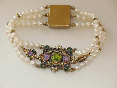 UNIKAT Jugendstil Emaille Perlen Armband um 1900 EMAILLE Amethyst PERIDOT SUPER