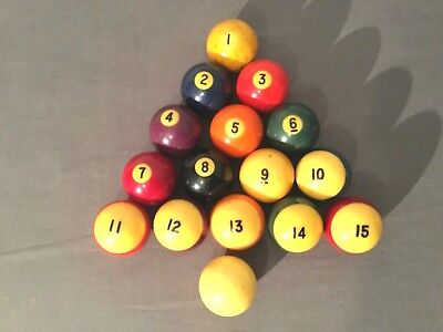 Vintage Lot of Pool Balls 1-15 Plus A Cue Ball Billiards Pool Table Balls  for sale  Maple Heights