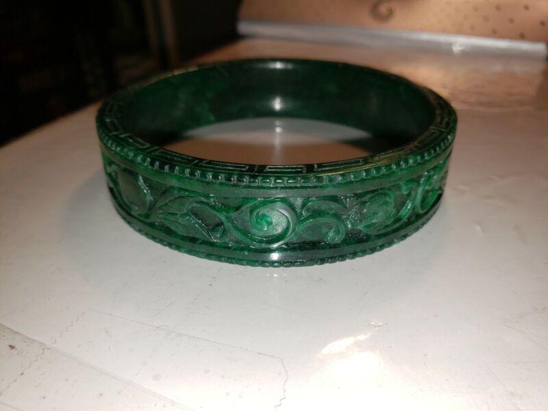 NATURAL OLD CARVED ANTIQUE GREEN JADE BANGLE BRACELET  VINTAGE MUST SEE